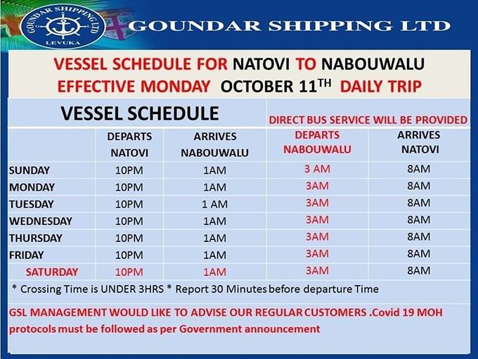 Goundar Shipping vessel schedule effective from October 11, 2021.