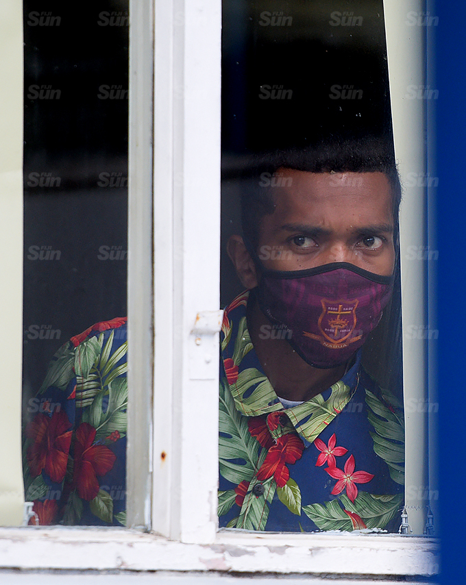 One of the 45 men that were remanded in Custody over Nabua brawl during special Court sitting at Police Academy in Nasova on 7, October 2021. Photo: Ronald Kumar.
