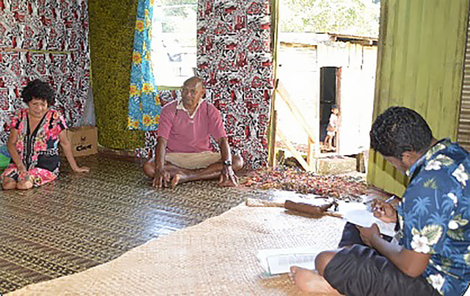 PMU SEPO Mr. Bali interviews Ms. Susu and Beniame Rayawa in Lutukina Village, Macuata.