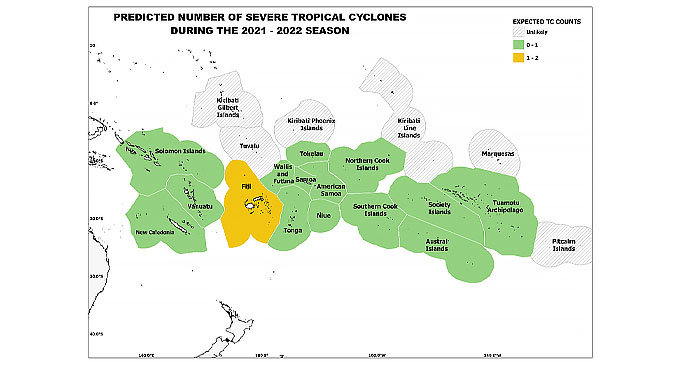 Figure 4: Predicted number of Severe Tropical Cyclones for the Pacific Island Countries EEZ during the 2021-2022.