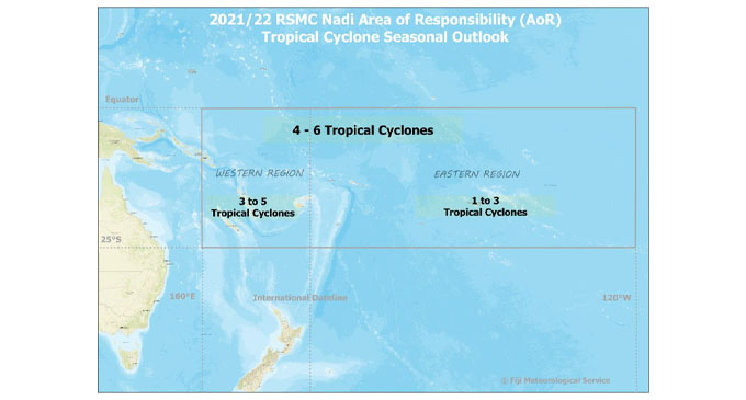 Figure 1: Regional Specialized Meteorological Centre (RSMC) Nadi - Tropical Cyclone Centre (TCC) Area of Responsibility (AoR), with predicted number of TCs' for the Western and Eastern Pacific region.