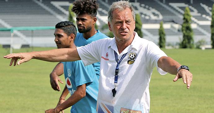 Fijian football head coach Flemming Serritslev during training at Govind Park, Ba, early this year. Photo: Fiji FA Media