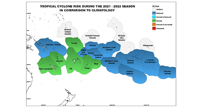 Figure 5: Tropical cyclone Risk for the Pacific Island Countries during the 2021-2022 TC Season in comparison to climatology.