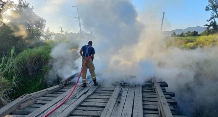 Waidamudamu Bridge On Nakorotari Road In Labasa Closed To All Traffic Due To Fire